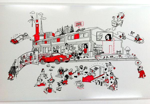 Erik Petri Illustration: Almen Bolig+ White Board Film