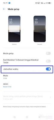 Mode gelap dijadwal realme UI