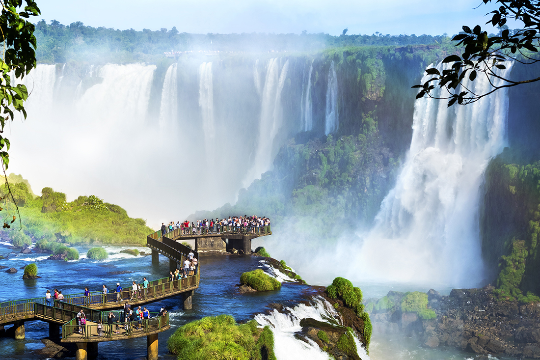 The Iguazu Falls in the border of Brazil and Argentina