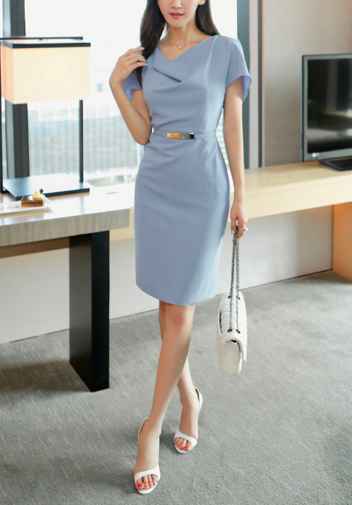Belted Cowl Neck Mini Dress