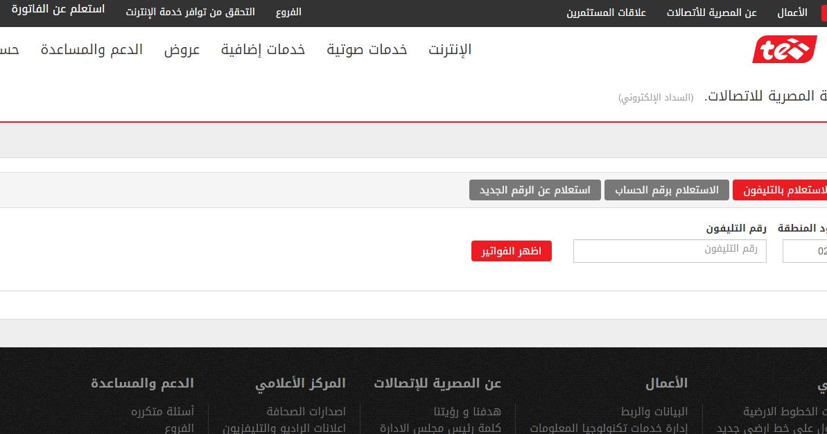 موقع Billingteeg دليل المصرية للاتصالات الاستعلام عن