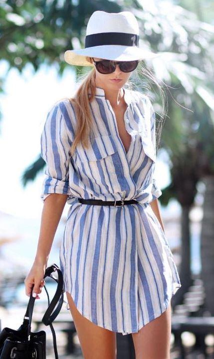 stylish look | hat + striped shirt dress + black bag