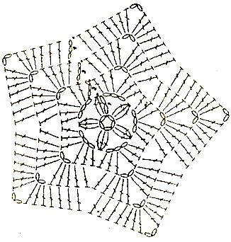 Схема вязания мотива звездочки крючком