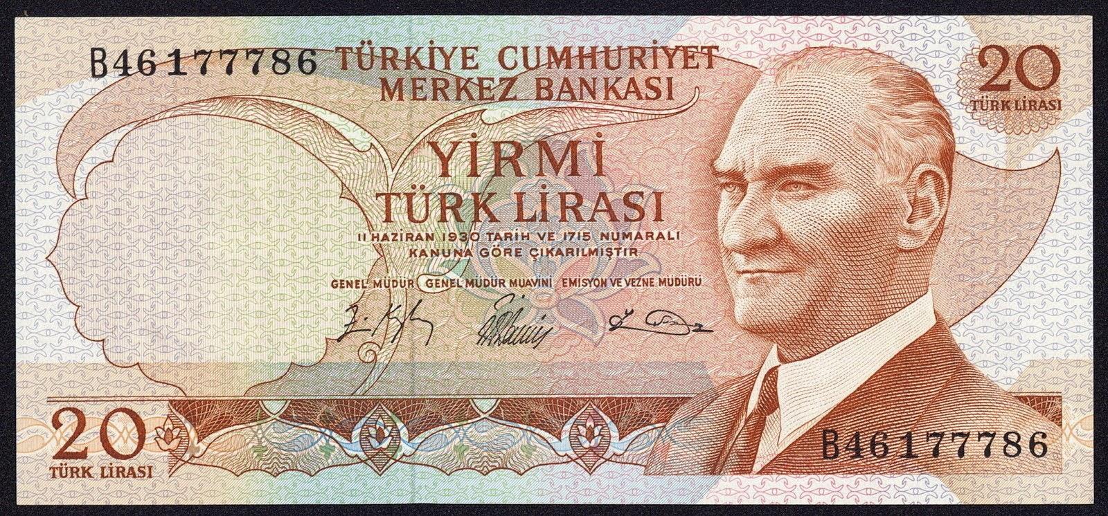 """Turkey Banknotes 20 Türk Lirasi """"Turkish Lira"""" note 1966 Mustafa Kemal Atatürk"""