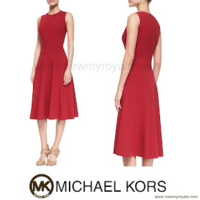 Crown Princess Mary Style Michael Kors Sleeveless Full-Skrt Dress