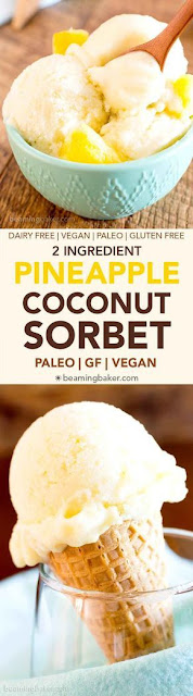 2 Ingredient Pineapple Coconut Sorbet (Paleo, Dairy-Free, GF, Vegan)