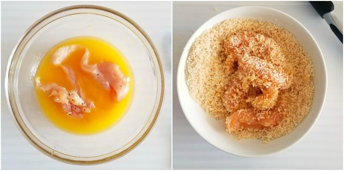 Las piezas de pollo se mojan en mantequilla, se pasan por la mezcla de pan rallado y se llevan al horno