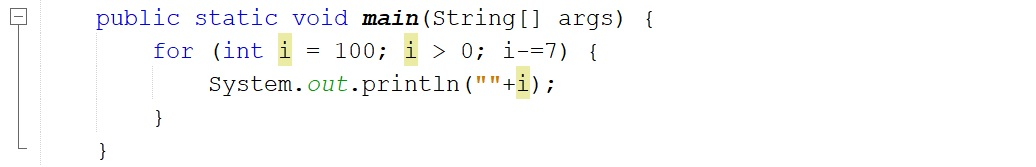 Escribir los números del 100 al 0 en Java