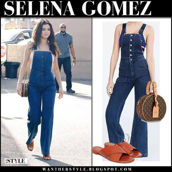 Selena Gomez in denim overalls wrangler and mansur gavriel sandals with round brown bag louis vuitton street style february 2