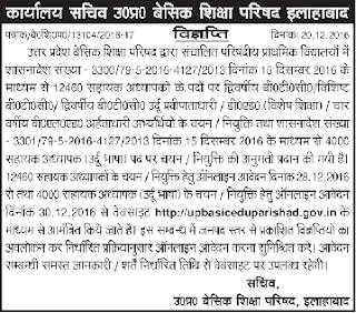 Uttar Pradesh Urdu Teachers, Assistant Teacher (Sahayak Adhyapak) Govt Jobs Recruitment
