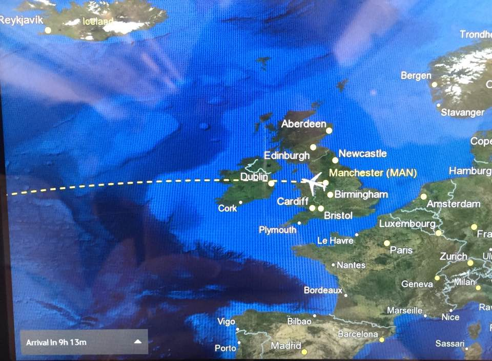 A Thomas Cook Long Haul Flight from Manchester | In-flight Meals, Entertainment & What to Expect - A Review - flight info and map