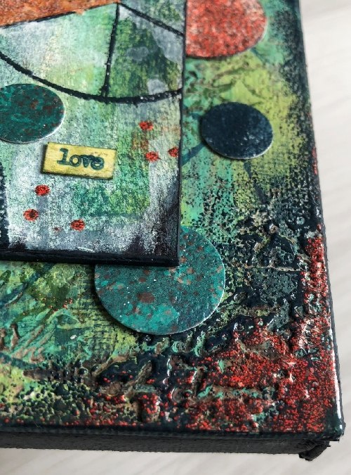 Abstract with PaperArtsy Fresco Acrylics, Everything Art stamps and Seth Apter Baked Texture Embossing Powder