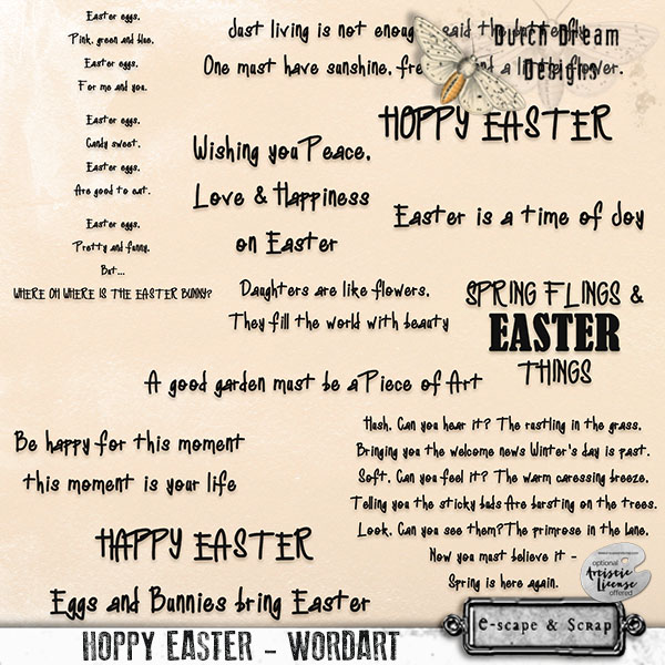 DUTCH DREAM DESIGNS HOPPY EASTER WORDART