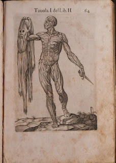 An illustration of a standing male figure with no skin. In his left hand is a knife, in his right, his skin.