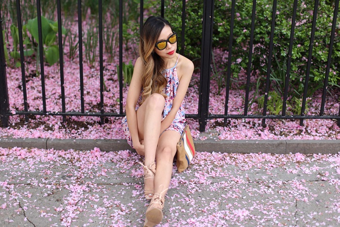 Shall We Sasa Parker Catamaran Romper, jeffrey campbell sandals, clare v clutch, quay sunglasses, nyc street style, nyc blogger, spring style