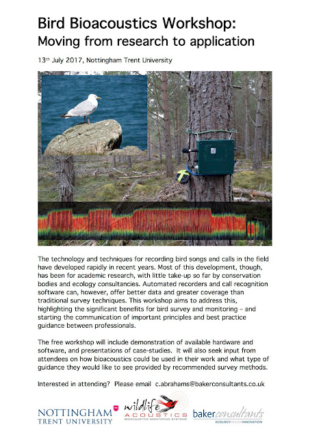 Bird Bioacoustics Workshop - 13th July - Nottingham Trent University