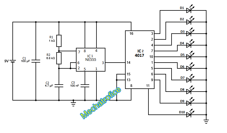 circuit led chaser by ic 4017 ic 555