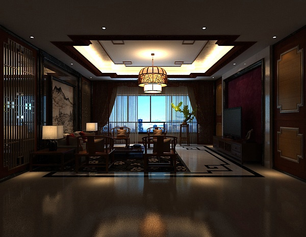 New Chinese living room MAX model free 3ds max model