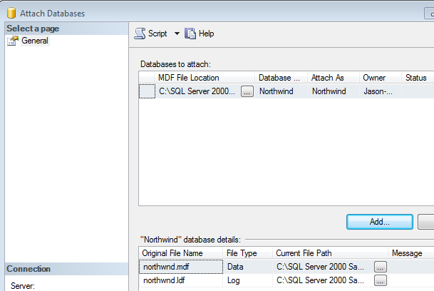 Northwind database log file