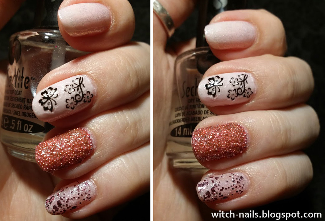 light pink glitter nails with stickers and nail caviar
