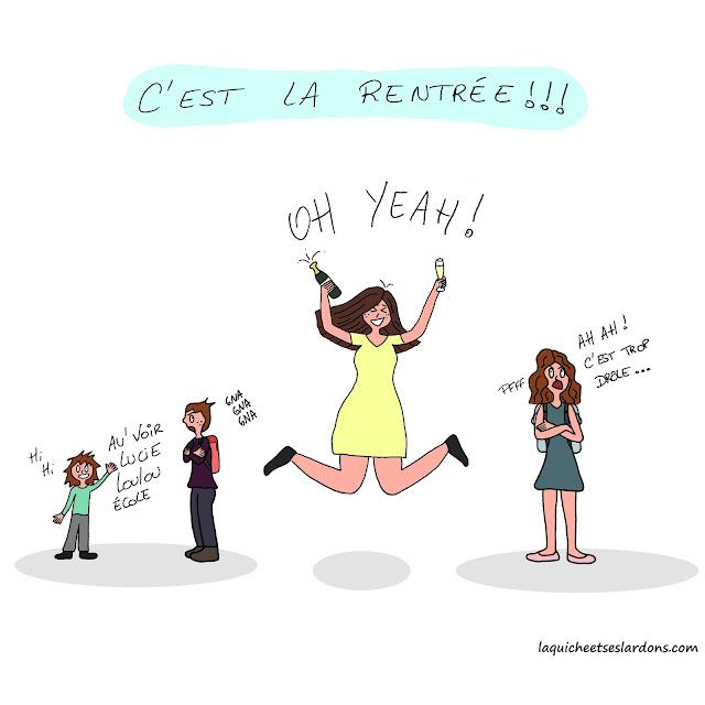 dessin illustration humour bd maman rentrée scolaire fête champagne enfants