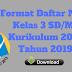 Format Daftar Nilai Kelas 3 SD/MI Kurikulum 2013 Tahun 2019 - Homesdku
