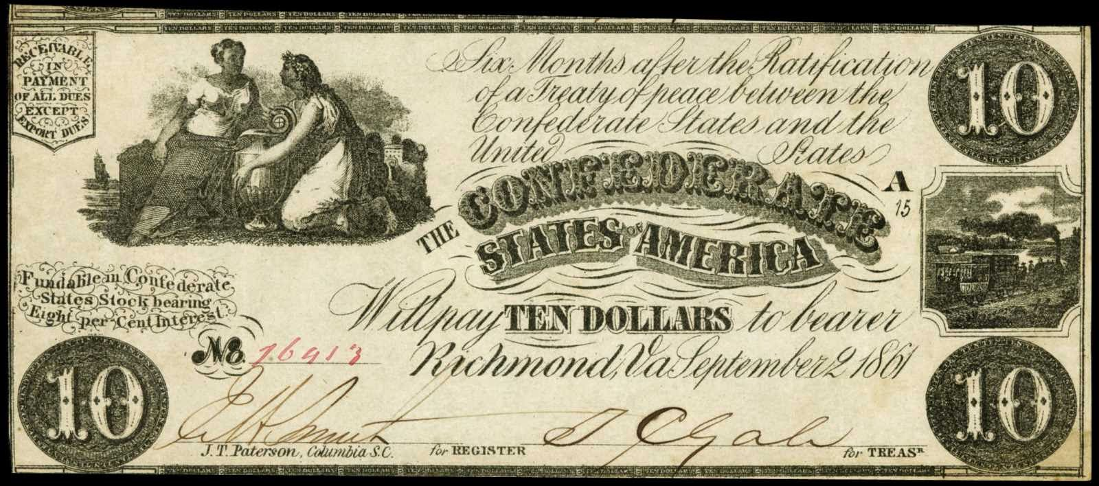 Confederate Currency 1861 10 Dollar Bill CSA Civil War Note T-28