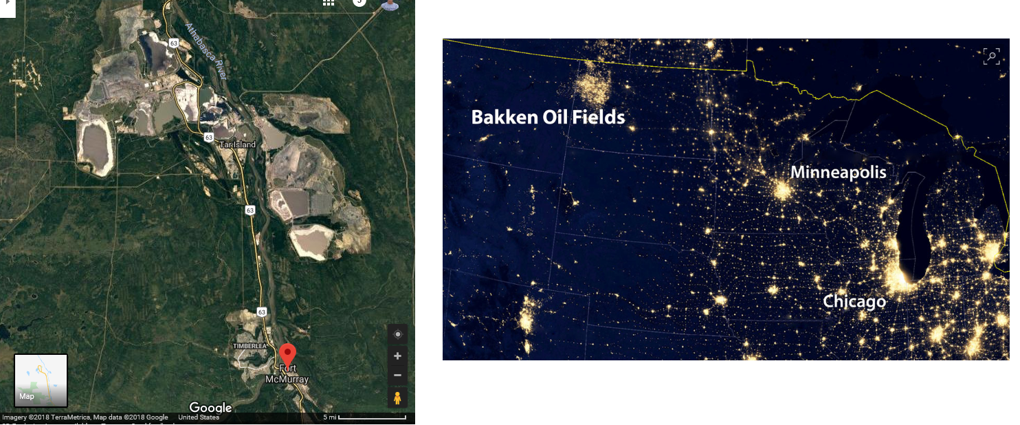 at left the athabasca oil sands as captured by satellite imagery on google maps retrieved 9 9 2018 at right the upper midwest at night