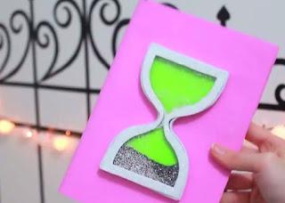 Tapas DIY para libretas geniales - reloj de arena