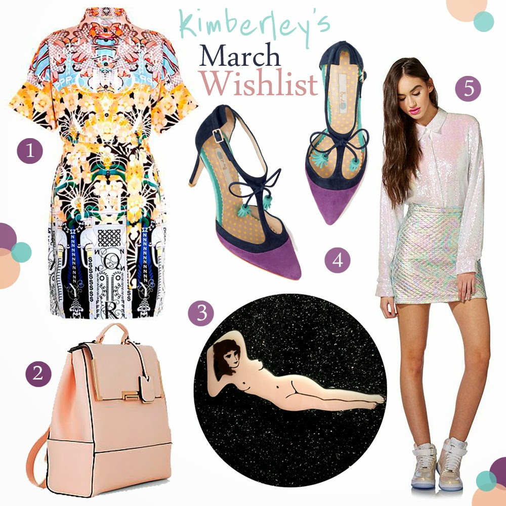 Wishlist, Currently coveting, spring style, Scottish Bloggers, Mary Katranzou dress, New Look back pack, Baccurelli brooch, Boden heels, Jaded London skirt