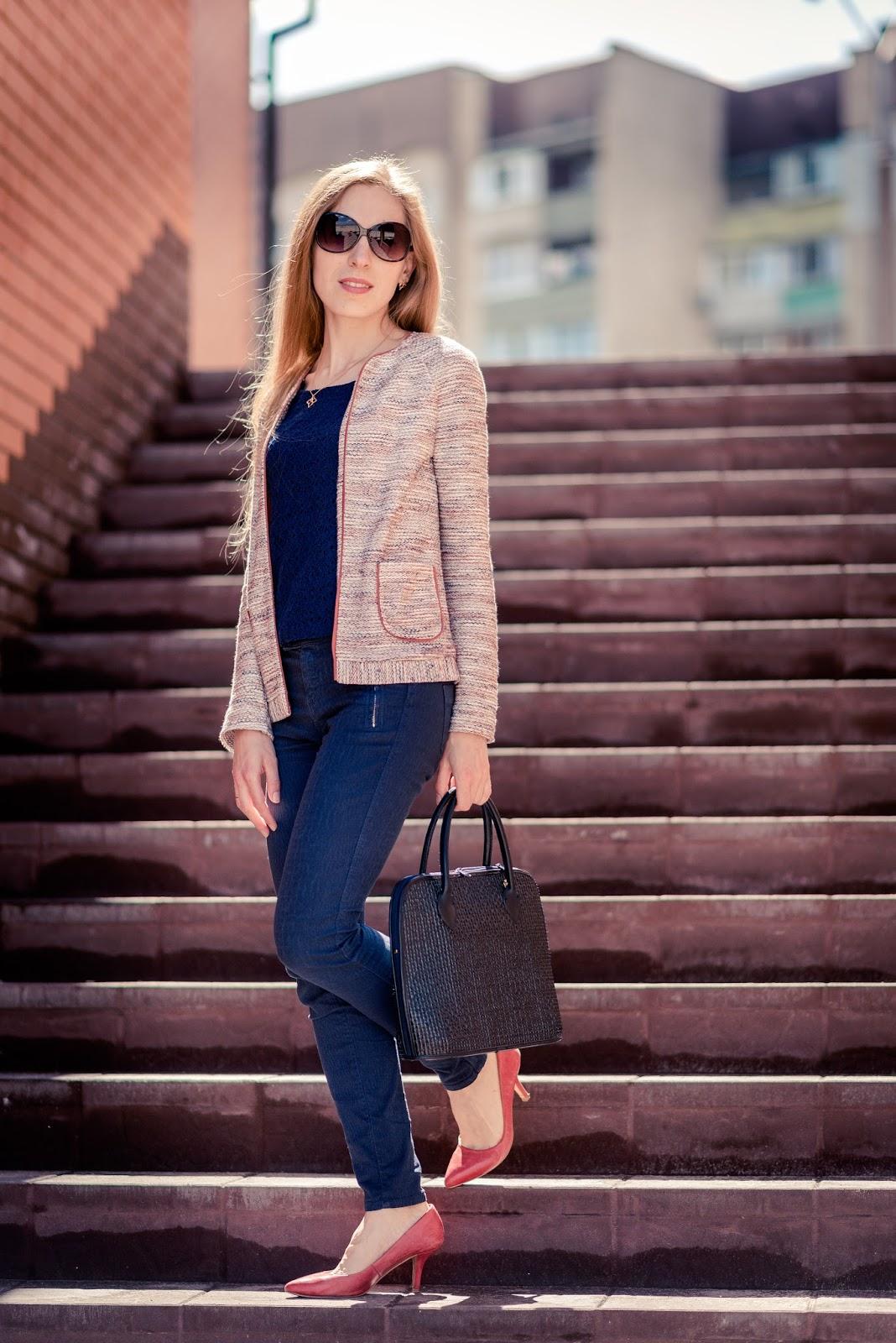 Melange jacket and red heels - style