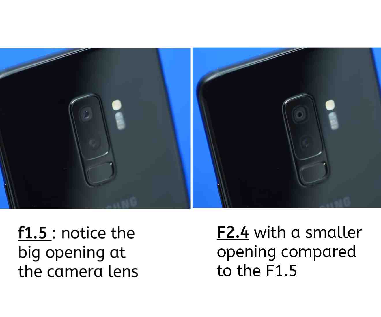 The Dual Aperture openings on the Samsung Galaxy S9 Plus