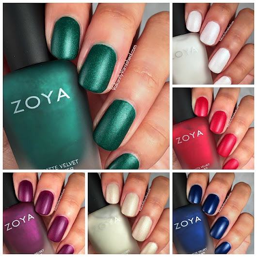 Valiantly Varnished: Zoya Matte Velvet Fall Winter 2015 Collection Swatches & Comparison