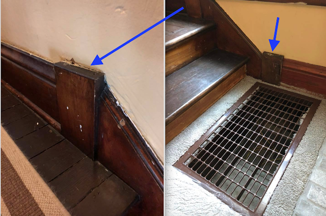 use of plinth block to connect angled moulding pieces, Sears kit house