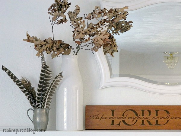 Sweet and Simple Fall Mantel with Turkey Feathers and Fall Branches