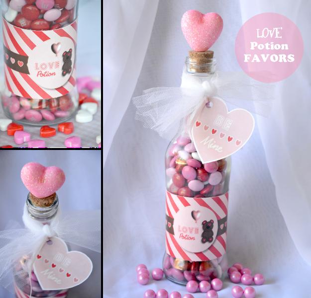 Valentine's Day DIY LOVE Potion Party Favor - via BirdsParty.com