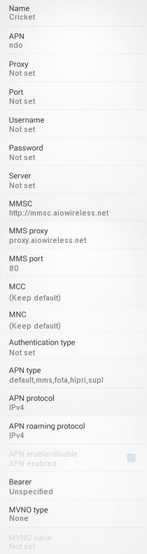 Cricket Wireless APN Settings for Android