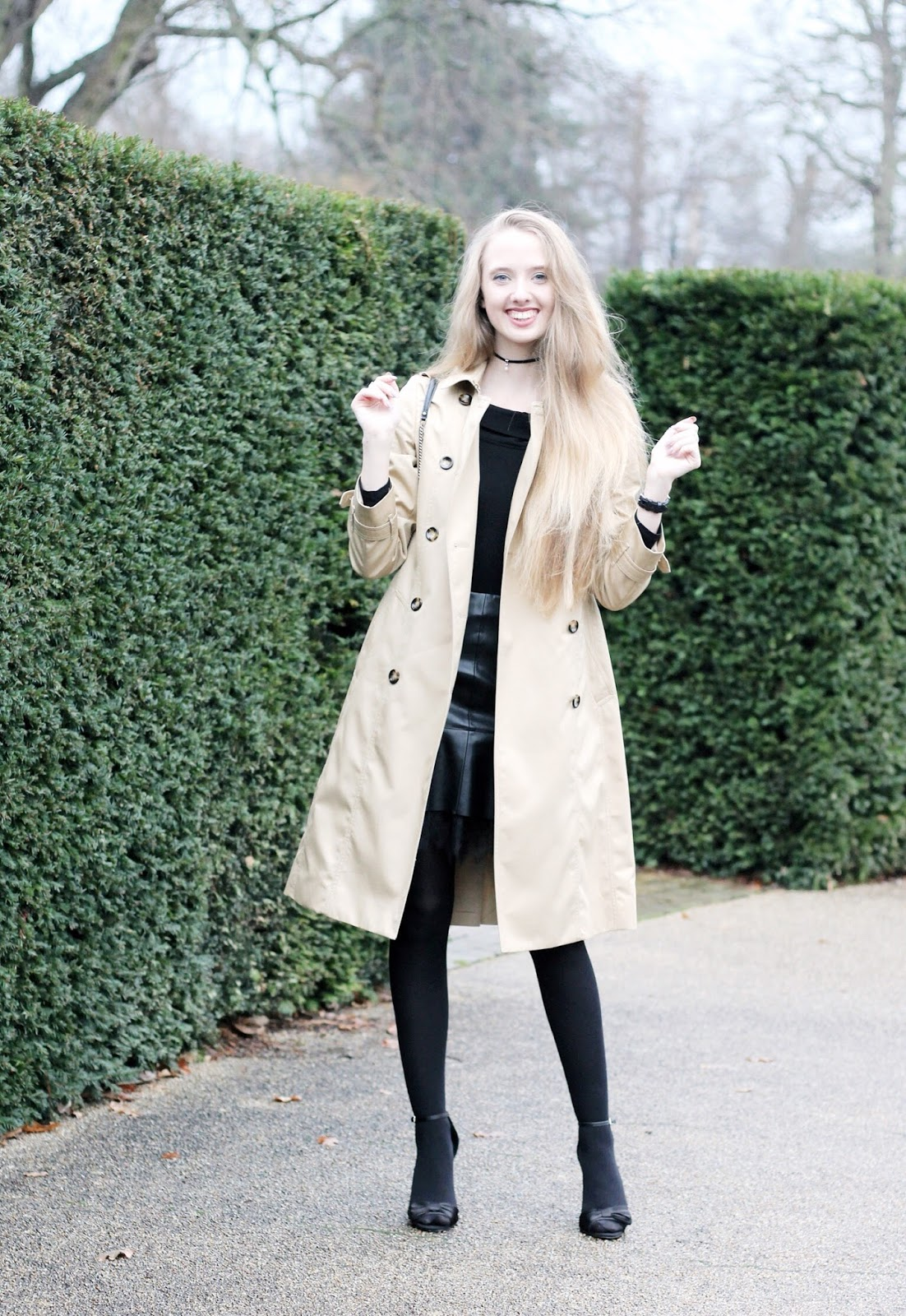 Styling a long Jaeger trench coat for winter party