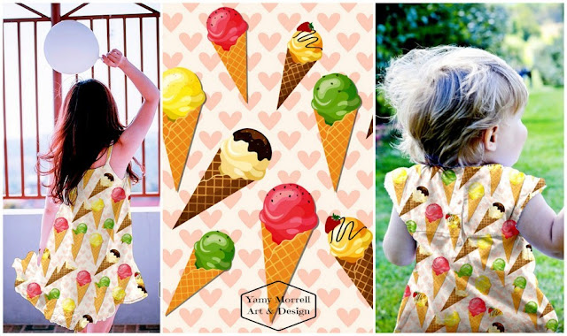 ice cream-cones-heart-pink--pattern-yamy-morrell