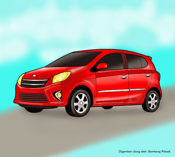 Cara Mewarnai Gambar Mobil Toyota Agya belajar