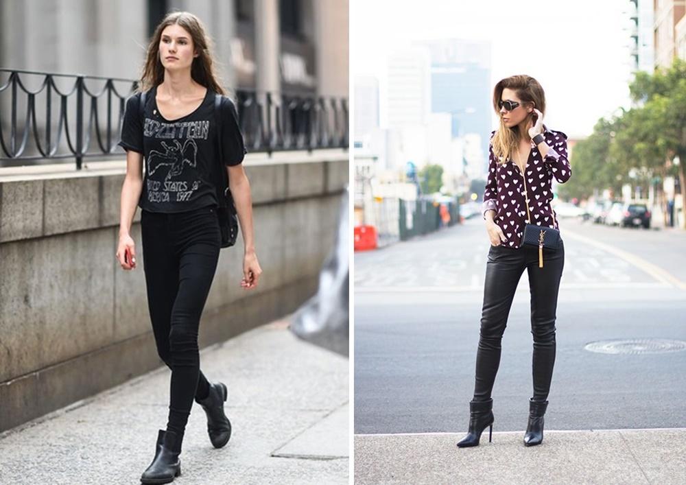 Ankle Booties and skinny jeans or black leggings
