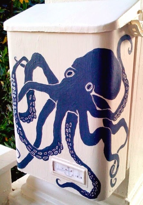 octopus mailbox hand painted