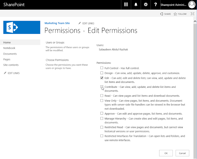 sharepoint online change user permissions