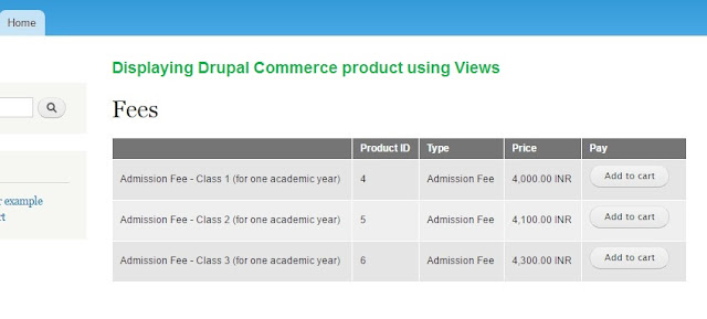 display drupal commerce products using views