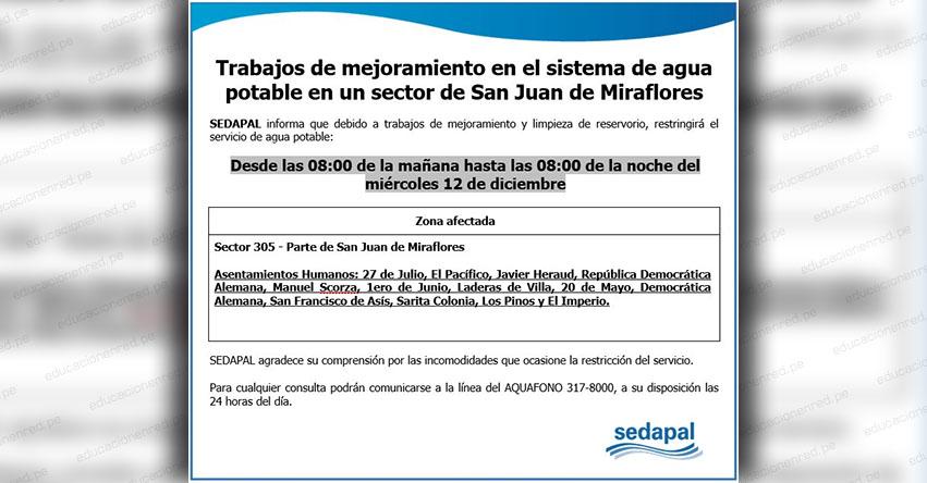 SEDAPAL: Corte de Agua en San Juan de Miraflores este 12 de Diciembre - www.sedapal.com.pe