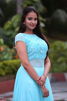 Pujita Ponnada in transparent sky blue dress at Darshakudu pre release ~  Exclusive Celebrities Galleries 122.JPG