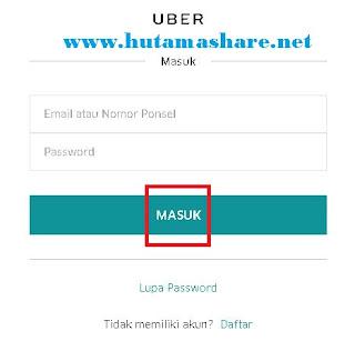 Halaman Login Uber Driver