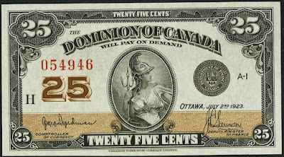 Dominion of Canada 25 Cents Banknote 1923
