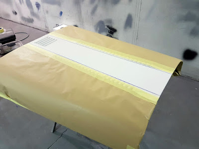 Bonnet masked ready for Sulfur Yellow paint
