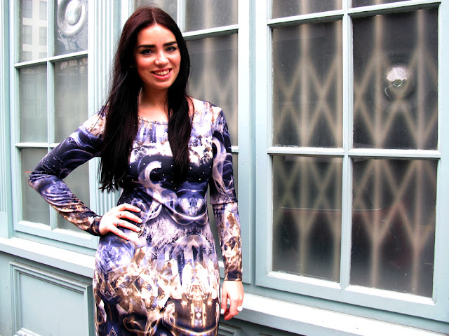 Fashion blogger Emma Louise Layla in a digital print dress from River Island | UK style blog